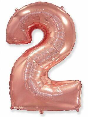 Воздушный шар цифра 2 Розовое золото 1 метр