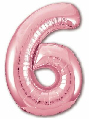 Воздушный шар цифра 6 Розовое золото 1 метр