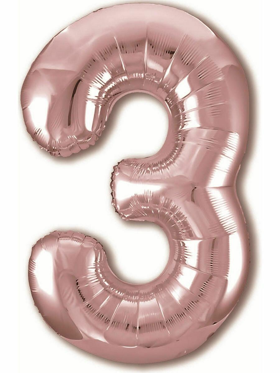 Воздушный шар цифра 3 Розовое золото 1 метр