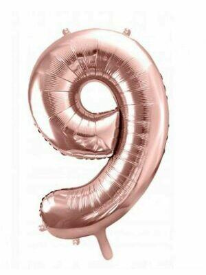 Воздушный шар цифра 8 Розовое золото 1 метр