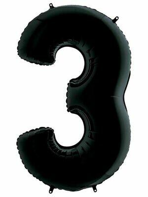 Воздушный шар цифра 3 Черный 1 метр