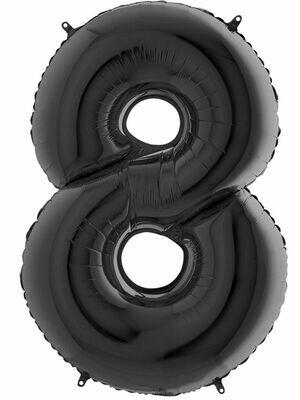 Воздушный шар цифра 8 Черный 1 метр