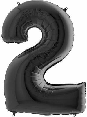 Воздушный шар цифра 2 Черный 1 метр
