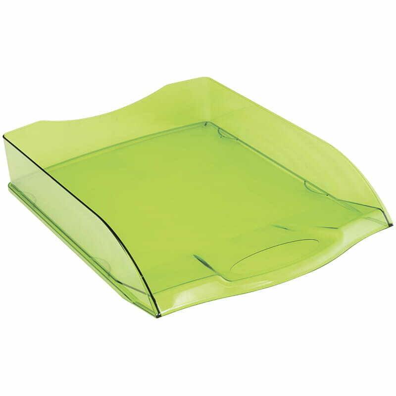 """Лоток для бумаг горизонтальный OfficeSpace """"Colorful"""", тонированный зеленый"""