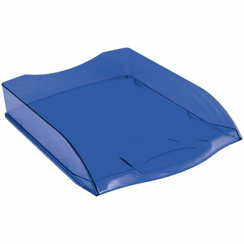 """Лоток для бумаг горизонтальный OfficeSpace """"Colorful"""", тонированный синий"""