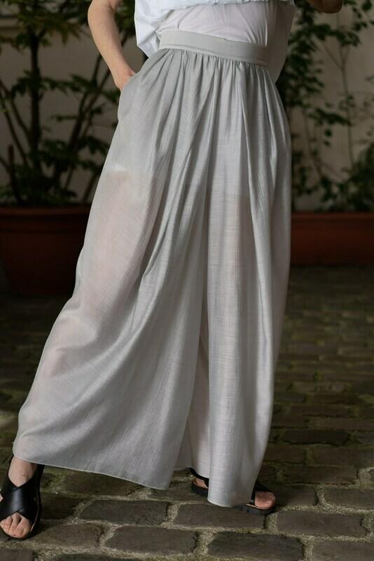 Sheer Wide-Leg Dress  Simple 94Cm
