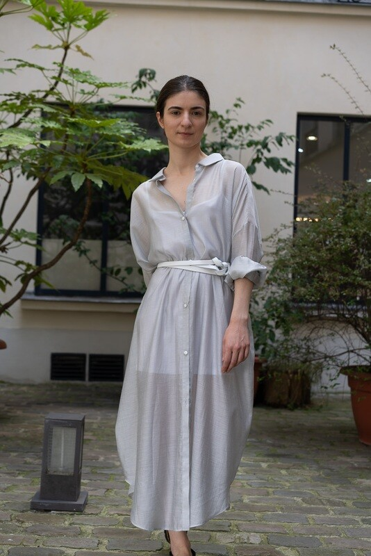 Sheer Maxi Shirt Dress