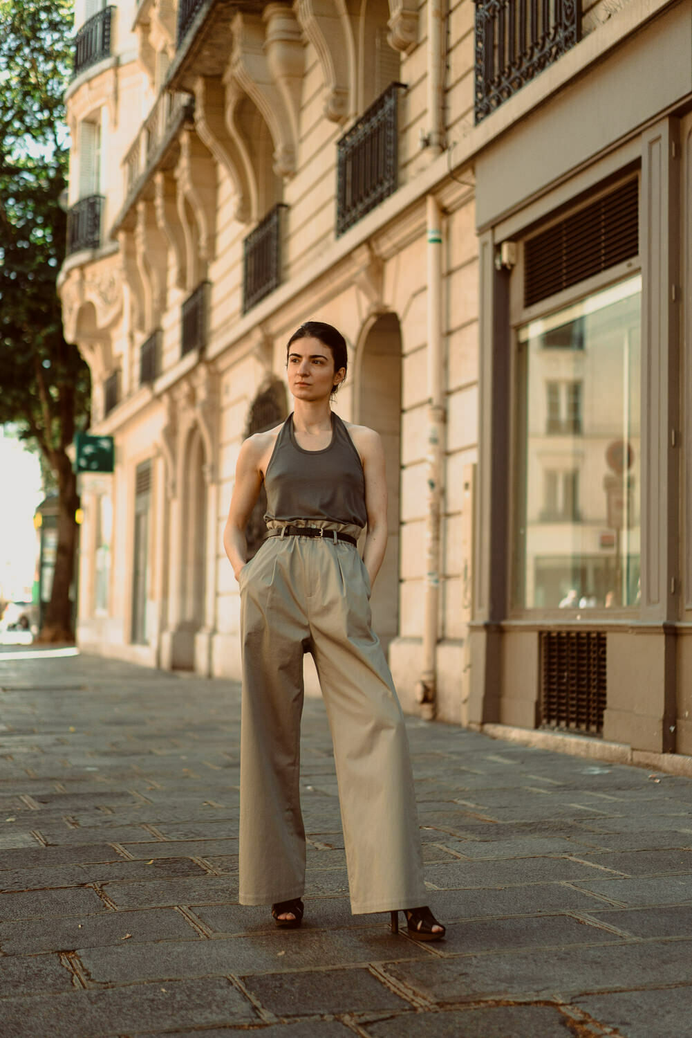 Cotton-Blend Wide-Leg Pants