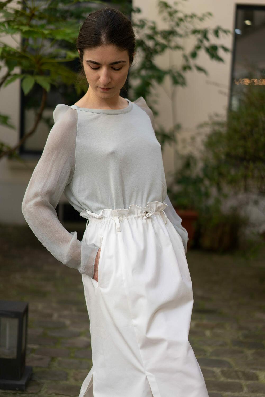 Silk-Sleeve Top with Open Shoulder