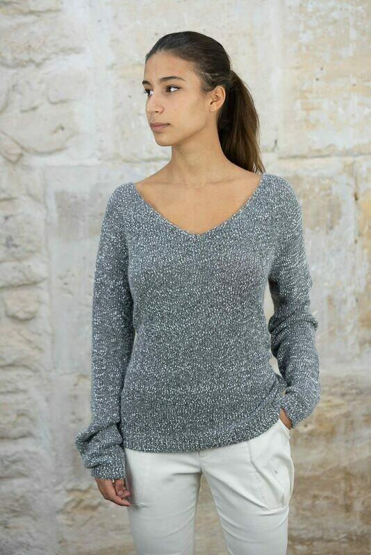Wide V-Neck Tweed Sweater