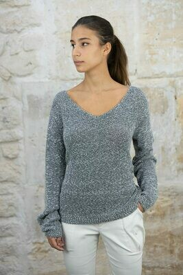 Wide V-Neck Tweed Sweater