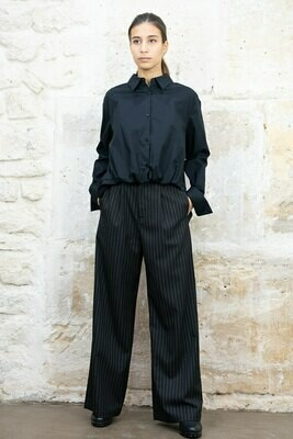 Pleated High-Rise Wide-Leg Trousers