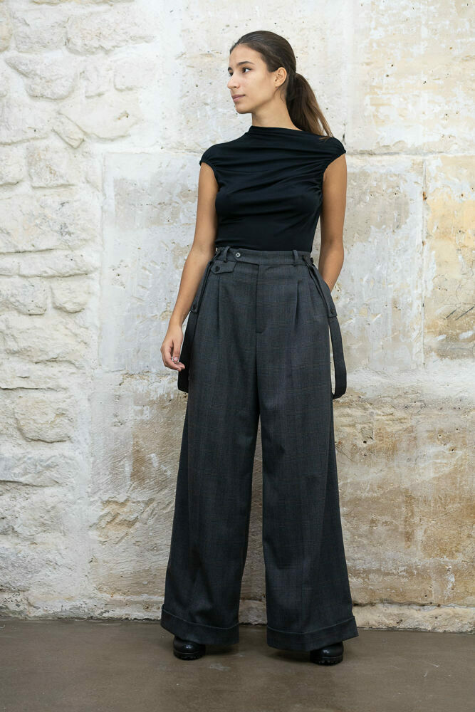 Flared Pleated Pants with Suspenders