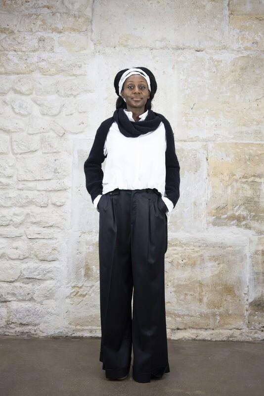 Wide-Leg Wool Pants with Suspenders
