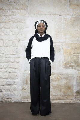 Wide-Leg Wool Pants with Suspenders