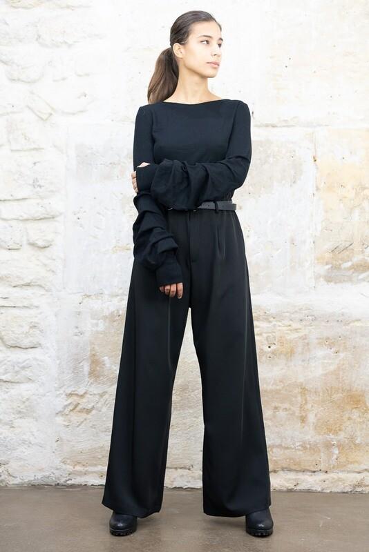 Draped Sleeve Wool Sweater