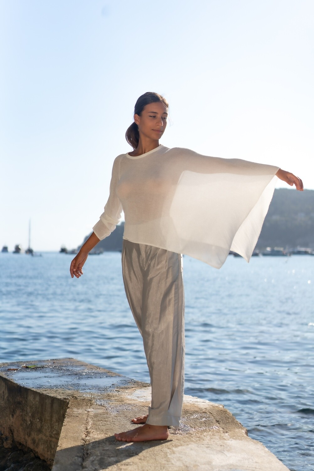 Asymmetric Sweater Cape + Wide-Leg Glossy Pants