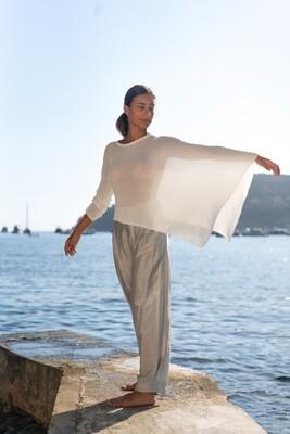 Asymmetric Sweater Cape + Wide-Leg Glossy Pants