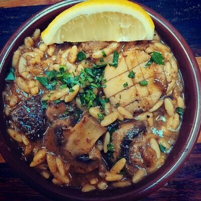 Wild Mushrooms with Orzo [served hot]