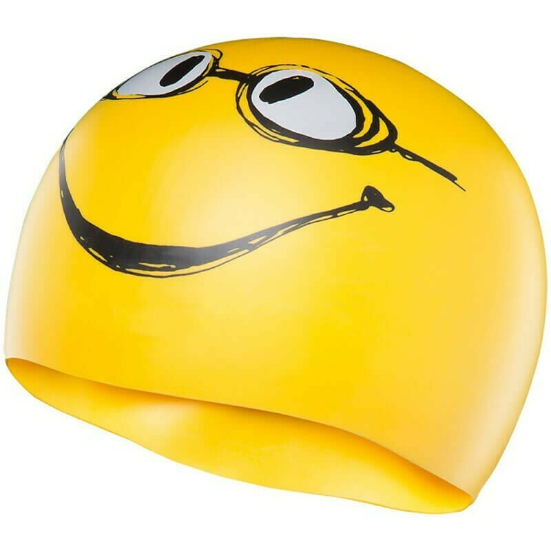 """TYR - Swim Cap """"Have a Nice Day"""" Yellow"""