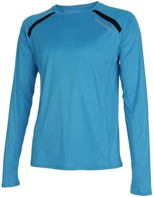 DIADORA - Long sleeve tshirt blue fluo -uomo - tg. L