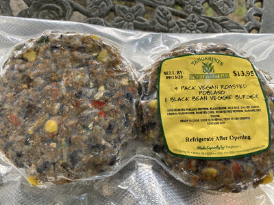 Vegan Roasted Poblano & Black Bean Veggie Burger 4-Pack