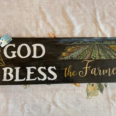 God Bless The Farmer   Horizontal Wall Sign   Sandy Staiger Aiken Artist