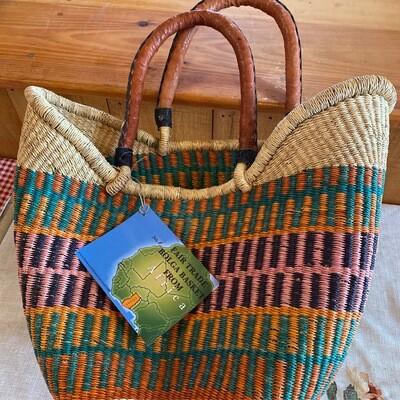 Large Africa Fair Trade Bolga Basket   Item 1a
