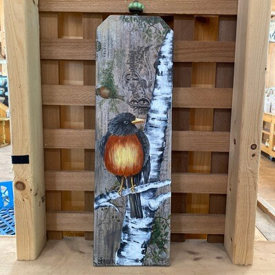 Bird on Birch Tree   Vertical Wall Sign   Sandy Staiger Aiken Artist