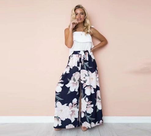 Pantalón Tipo Palazzo y Estampado de Flores