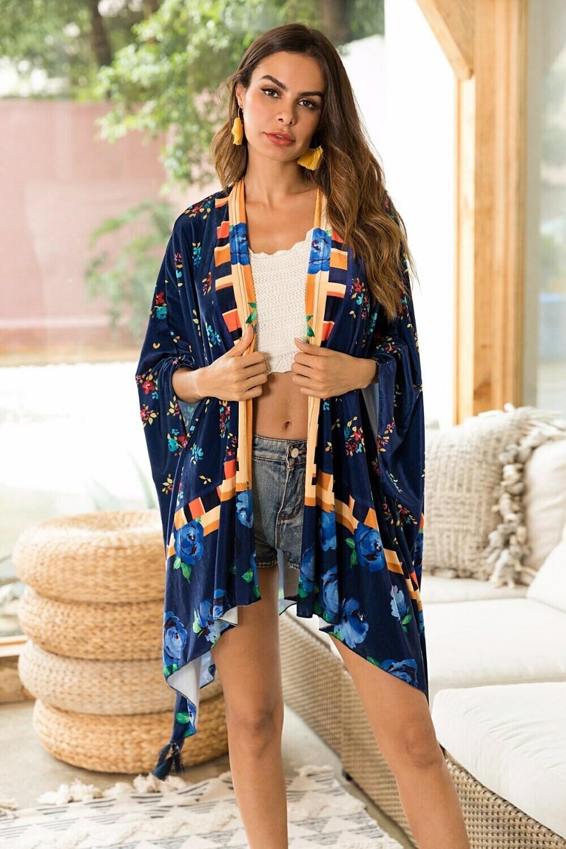 Cardigan Tipo Kimono Con Diseño Floral y Étnico
