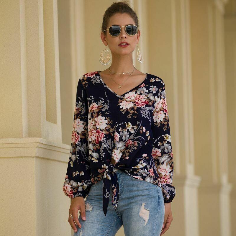 Blusa De Chiffon de Estampado Floral