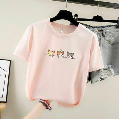 T-shirt Con Diseño De Gatitos