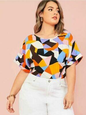 Blusa Plus de Estampado Geométrico