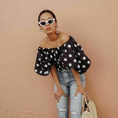 Blusa Off Shoulder Crop Top Polka Dots