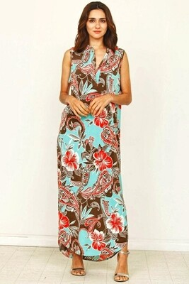 Vestido Maxi Estampado Paisley Floral