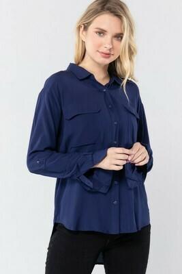 Camisa manga larga con bolsillo de solapa
