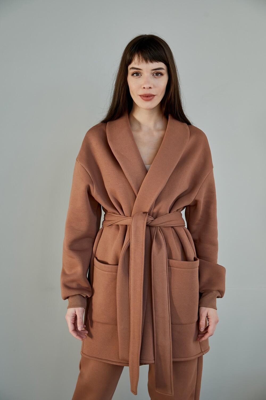 Утепленный костюм кимоно с поясом и джоггерами. Размер 42-44. Рост 169-174 см.