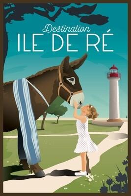 Affiche Île de Ré Âne en culotte - DOZ