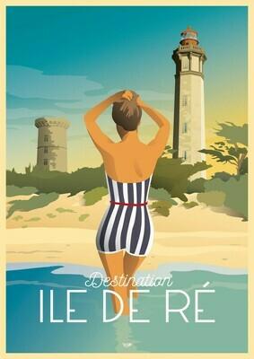 Affiche Île de Ré Baigneuse et Phare des Baleines - DOZ