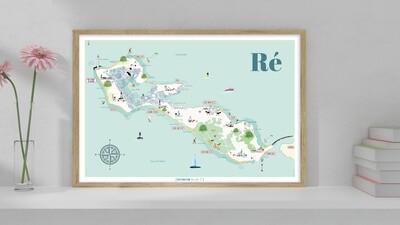 Affiche Carte de l'Île de Ré