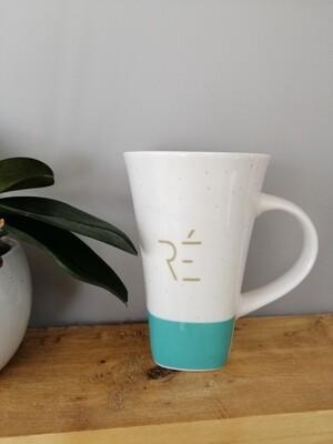 Mug vert d'eau et doré en céramique