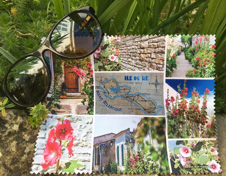 Essuie lunettes Roses trémières de l'Île de Ré