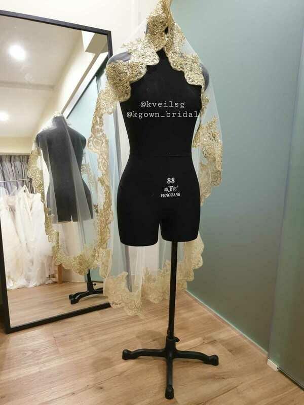 Gilda Gold Thread Lace Veil