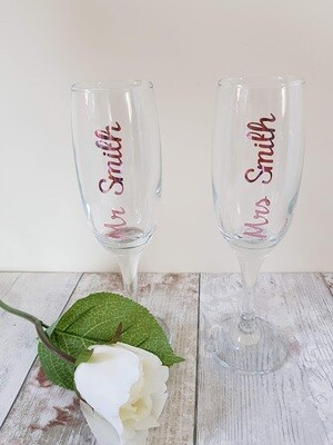 Personalised with name Champagne flutes