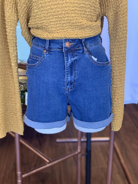Blue Wash Mom Shorts