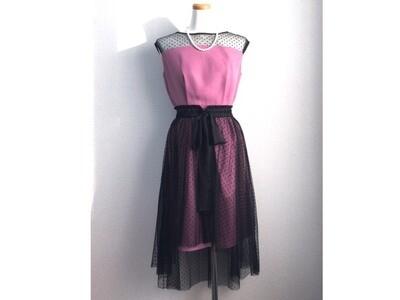 ドットチュールラップスカート付きドレス