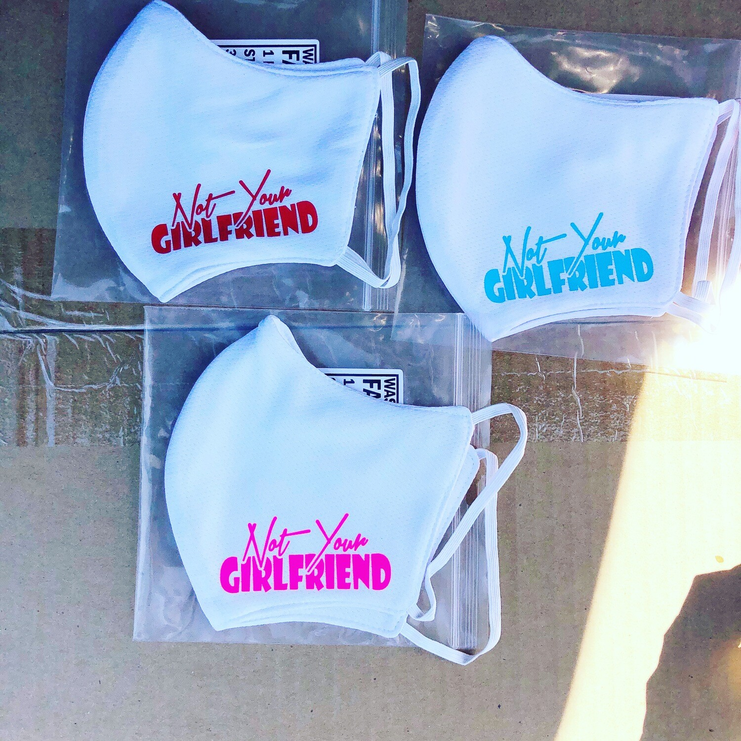 White not your girlfriend mask