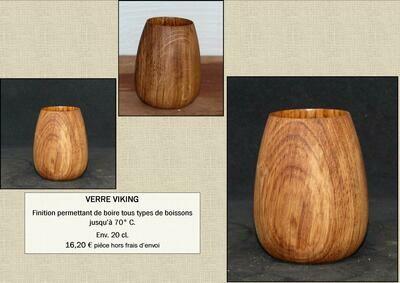 Verre en bois d'inspiration Viking - 20 cl - léger/écologique/durable - by La Tournerie