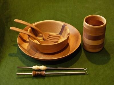 Service complet de Vaisselle en bois pour 1 personne - Vaisselle écologique et durable by La Tournerie - SUR COMMANDE